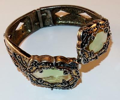 Antique Art Deco Silvertone Green Glass /raised Designs Hinged Clamper Bracelet