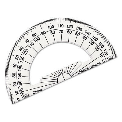 Open Center Protractor, Plastic, 4 Ruler Edge, Clear
