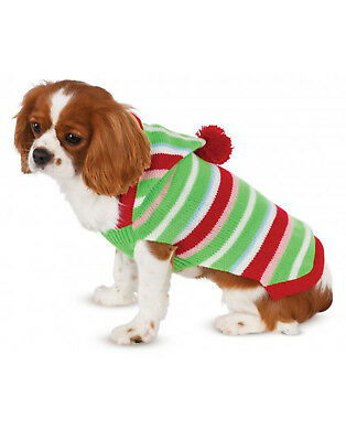 Pet Sweater Christmas Holiday Candy Cane Striped Dog/Cat Hoodie