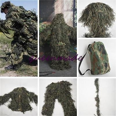 Woodland Forest Sniper Ghillie Suit 3D Camouflage Camo Jungle Hunting Train Q