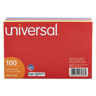 Universal Index Cards, 4 X 6, Blue/salmon/green/cherry/canary, 100/pack