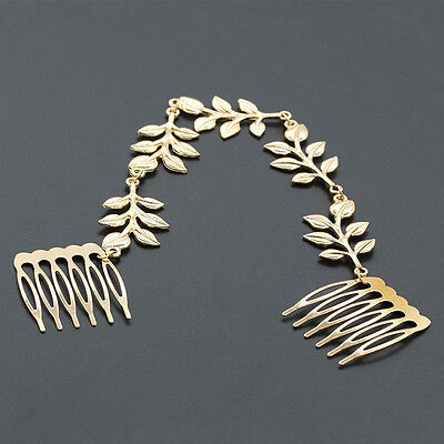 Womens Fashion Headband Golden Metal Leaves Beaded Hair Comb Jewelry Headpiece