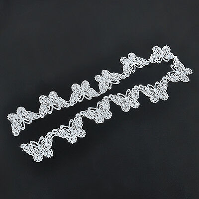1M Wedding Vintage Applique Crafts Sewing White Butterfly Lace Edge Trim Ribbon