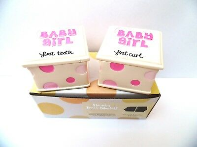CHRISTENING/BABY GIRL GIFT-White/Pink Resin FIRST TOOTH & CURL BOXES in BOX-NEW