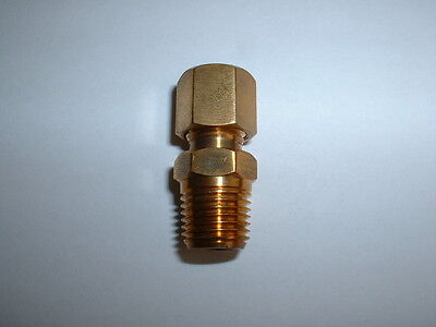 """0.25"""" (1/4"""") Bspt Solid Brass Compression Gland For 6Mm Thermocouple Probes"""