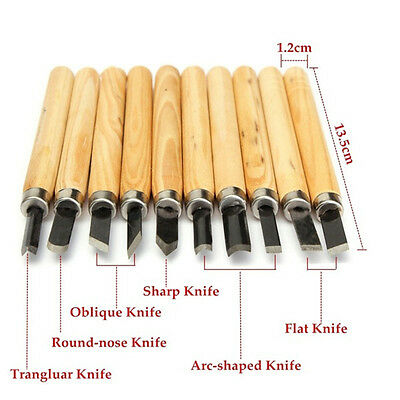 Woodworking Tool Set Wood Carving Carvers Hand Chisel  Woodworkers Gouges 10 Pcs