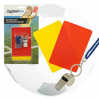 3pc Kids Referee Sports Football Rugby Pocket Set Red Yellow Cards & Whistle NEW