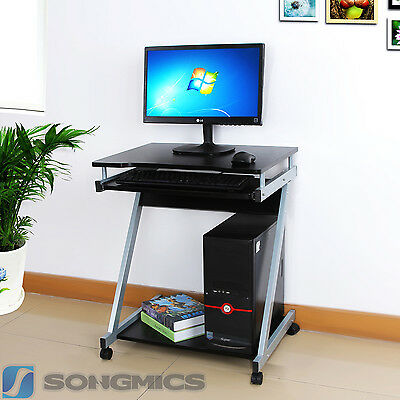 Small Computer Desk Home Office Portable Trolley Workstation PC Laptop LCD811B