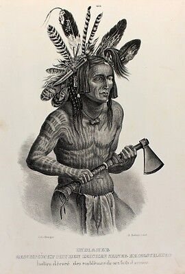 Indianer Natives Krieger Warrior Tomahawk Häuptling Sioux Missouri Karl Bodmer