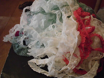 Assorted selection of gathered lace trims over 65yds++