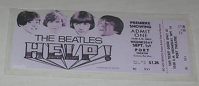 """Reproduction Beatles Movie Premiere Ticket """"HELP!"""" Wednesday Sept 1, 1965"""