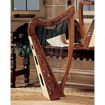 Medieval 10th Century Replica Celtic Carved Knot Rosewood 22 String Harp