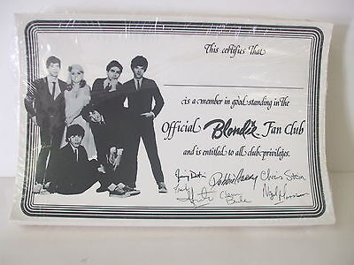 Official BLONDIE Fan Club Unused pack of 100 Membership Certificates - Sealed
