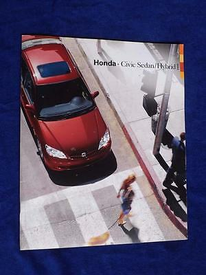 2005 Honda Brochure Civic Sedan Hybrid Car Colors Accessories Specifications