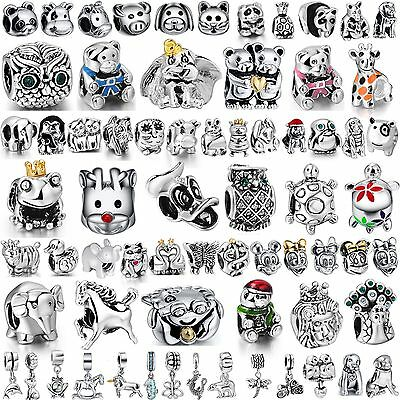 Animal Style Charms Cat Dog Frog Owl Bead Fit Women 925 Silver Bracelets Bangle