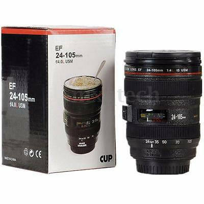 New Black Lens Thermos Camera Lens Cup 24-105mm Travel Coffee Tea Mug Cup