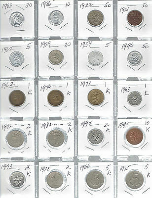 Czechoslovakia Lot of 20 Different Coins