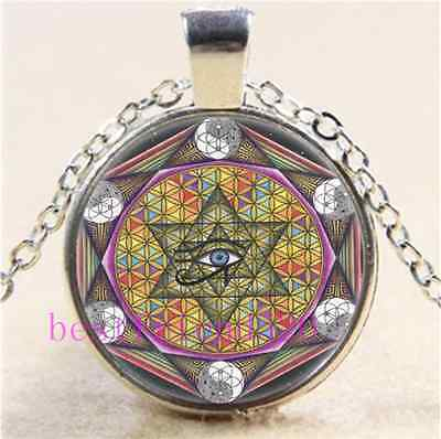 Sacred Geometry Eye of Horus Cabochon Glass Tibet Silver Chain Necklace