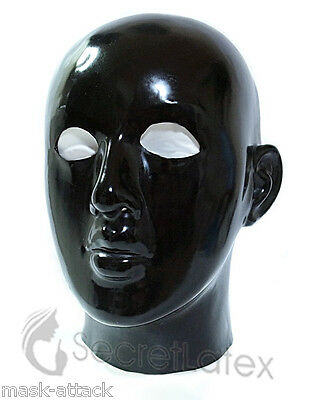 Latex Black Rubber Gummi Hood Full Head Gimp Fetish Anatomical Female Mask