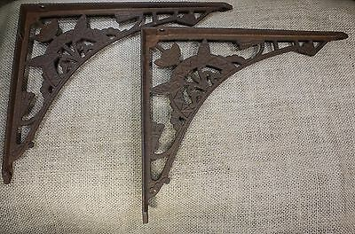 "2 old Shelf support brackets 8 X 10"" Eastlake flower rustic cast iron vintage"