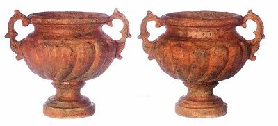 Dollhouse Miniature or Fairy Garden x2 Large Handle Urn Planters 1:12 Scale