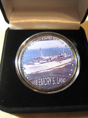 US NAVY - USS EMORY S LAND / AS-39 Challenge Coin w/ Presentation Box