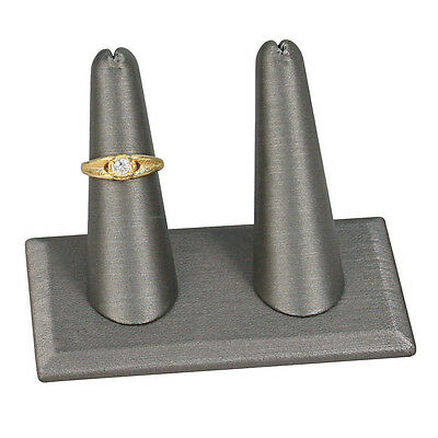 2 Finger Display Steel Grey Leatherette Jewelry Ring Stand Showcase Display Deal