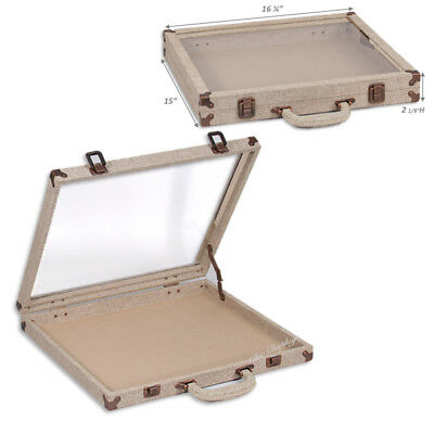 Modern Burlap Glass Top Travelling Jewelry Case Storage Box Travel Case Display
