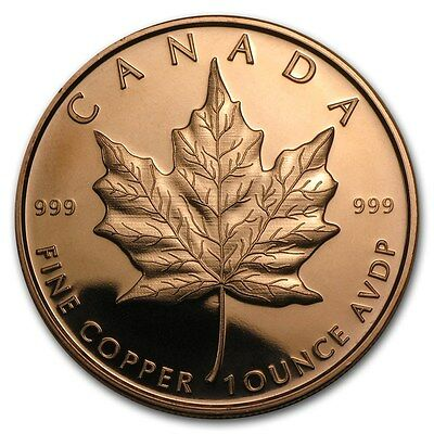 1 oz 999 Kupfer Copper Mpüfermünze Medaille Kanada Maple Leaf Top Zustand