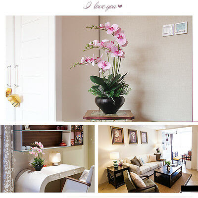 New Style Butterfly Orchid Silk Flower Phalaenopsis Bouquet Home Wedding Decor