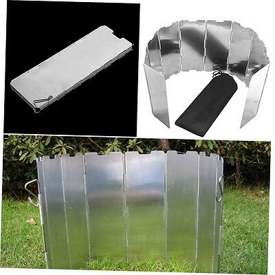 Foldable 10 Plates Cooker BBQ Gas Stove Wind Shield Screen Picnic Outdoor G#