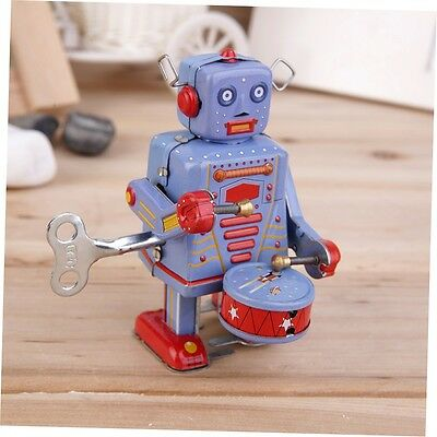 Vintage Metal Tin Drumming Robot Clockwork Wind Up Tin Toy Collectible G#