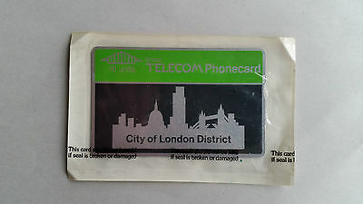 Vintage 80s British Telecom Phonecard. 10 Units. City of London District. Unused