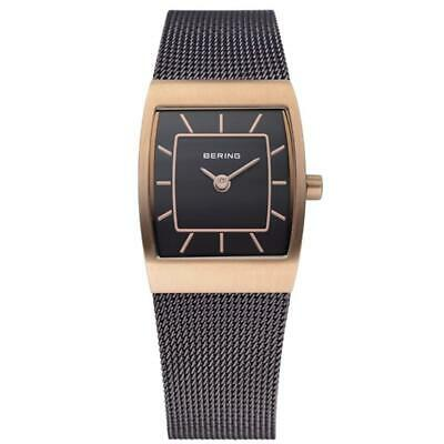 Bering Ladies Brown Stainless Steel Rectangular Rose Gold Plated Watch 11219-265