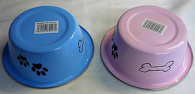 Blue or Pink Stainless Steel Paw Patterned Dog Cat Pet Bowl (16.5 x 6 cm)