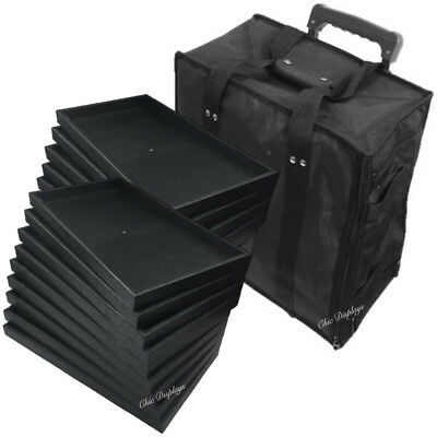 Large Jewelry Rolling Carrying Case Black Travel Case & Jewelry Trays & Liners