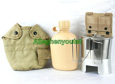 Military 6 Pc TAN CANTEEN SET 1QT CANTEEN w COVER, ADAPTER, STOVE, CUP + LID NEW