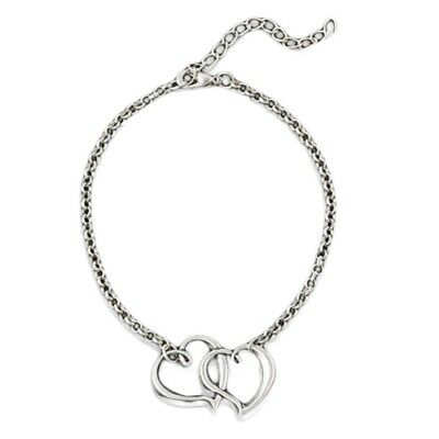 Silver Tone Double Heart Ankle Bracelet Anklet UK in velvet gift bag Valentines