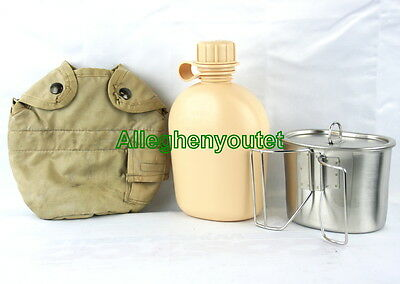 US Military 4 pc CANTEEN SET NEW 1QT CANTEEN, STAINLESS CUP, LID + VGC TAN COVER