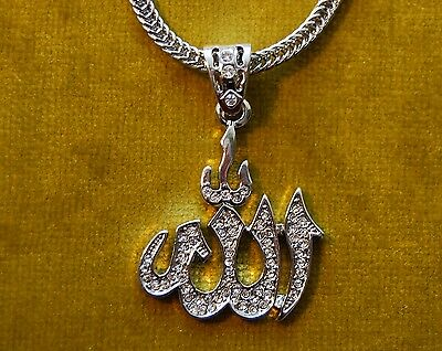 Allah Arabic iced out necklace religious pendant in 2 different finishes new bag