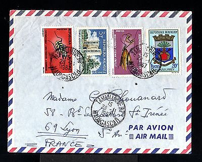 9411-MADAGASCAR-AIRMAIL COVER TANANARIVE to LYON (france) 1967.French colonies.