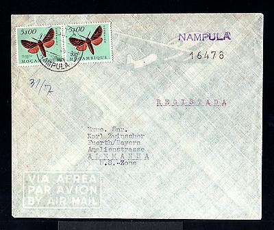 9418-MOÇAMBIQUE-AIRMAIL COVER NAMPULA to FUERTH (germany) 1956.Portugal colonies