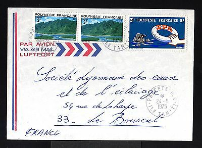 9414-POLYNESIA F-AIRMAIL COVER PAPEETE to LE BUSCAT (france)1975.French colonies