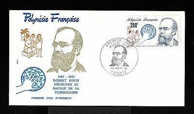 9424-POLYNESIA Française-FIRST DAY COVER PAPEETE.1982.French colonies.TUBERCULOS