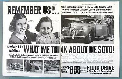Dated Original 1941 DE SOTO De Luxe Coupe Ad REMEMBER US CROSS COUNTRY GIRLS