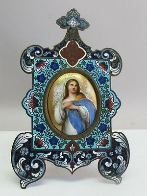 Fine & Large 19th C. FRENCH CHAMPLEVE Enameled Bronze Picture Frame   antique