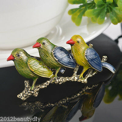 Women Retro The Three Little Birds Branch Brooch Personality Design Gift