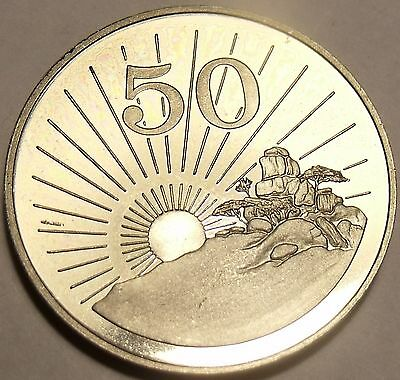 Rare Proof Zimbabwe 1980 50 Cents~Radiant Sun Rising~15,000 Minted~Free Shipping