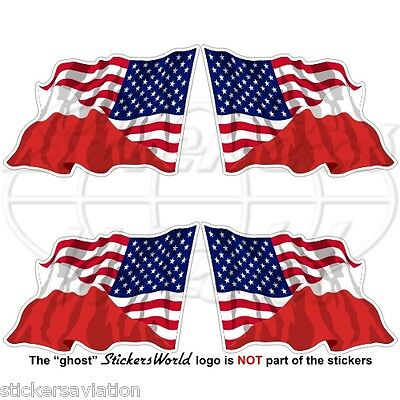 USA United States America-POLAND American & Polish Flying Flag 50mm Stickers x4