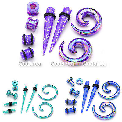 4 Pair Acrylic Spiral Taper Stretcher Ear Tunnel Plugs Stretching Expander Gauge